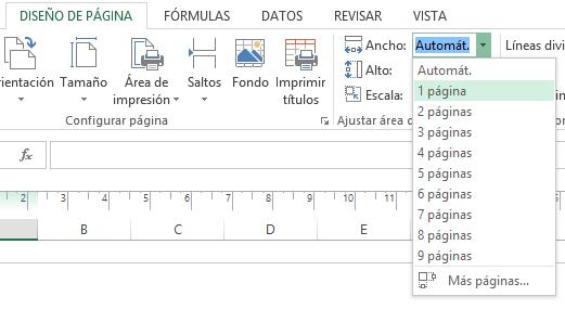 Ajustar la hoja de cálculo a la página impresa - Webirix